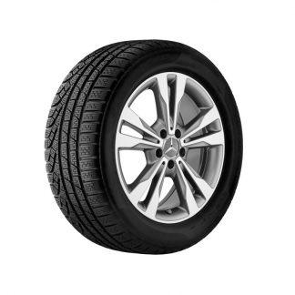 Mercedes-Benz Winter Kompletträder Satz, 5-Doppelspeichen-Design, himalaya grau, glanzgedreht, C-Klasse, 18 Zoll
