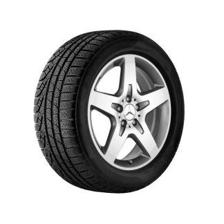 Mercedes-Benz Winter Kompletträder Satz, AMG 5-Speichen-Design, titangrau, glanzgedreht, GLA, 18 Zoll