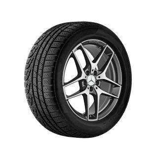 Mercedes-Benz Winter Kompletträder Satz, AMG 5-Speichen-Design, titangrau, glanzgedreht, GLA, 19 Zoll, DOT 2016