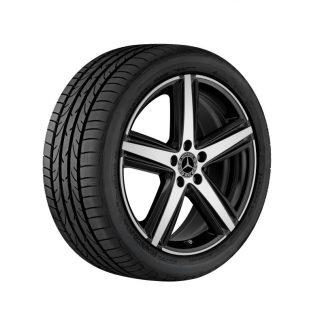 Mercedes-Benz Sommerkompletträder Satz, 5-Speichen Design, glanzgedreht, schwarz, W118, W177, W247, 19 Zoll