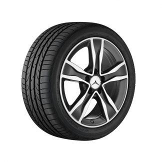 Mercedes-Benz Sommerkompletträder Satz, A205, C205, W205, S205, 5-Speichen-Alufelge, glanzgedreht, 17 Zoll