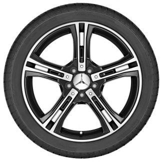 Sommerkompletträder Satz, 18 Zoll, Mercedes E-Klasse Cabrio, Coupé, 5-Speichen Design glanzgedreht