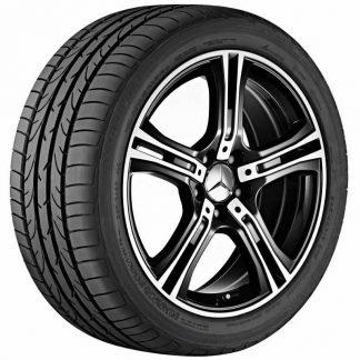 Sommerkompletträder Satz, 18 Zoll, Mercedes E-Klasse Cabrio, Coupé, 5-Speichen Design glanzgedreht, Mischbereifung