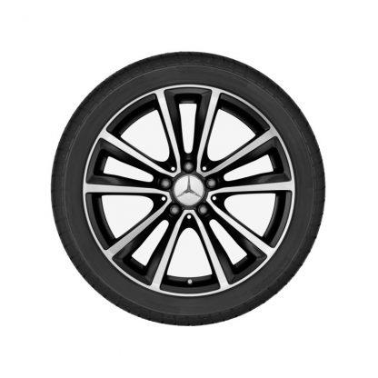 Mercedes-Benz Sommerkompletträder Satz, Aktion, 5-Doppelspeichen-Design, glanzgedreht, A-Klasse, B-Klasse, CLA, 18 Zoll