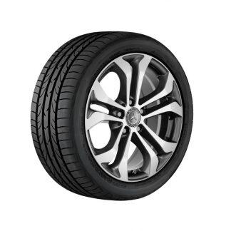 17 Zoll Mercedes-Benz Sommerkompletträder Satz, GLC 5-Doppelspeichen Design, glanzgedreht