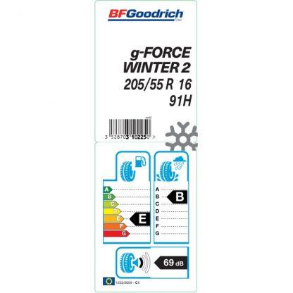Winterreifen BF Goodrich G-Force Winter 2, 205/55 R16 91H