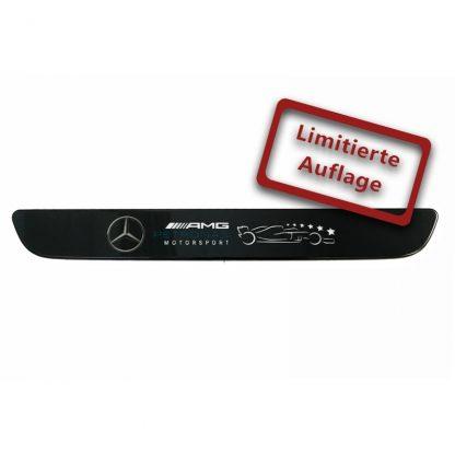AMG Petronas Einstiegsleiste, beleuchtet, vorne, Wechselcover, einteilig, AMG Petronas Schriftzug, 6 Sterne, limited Edition